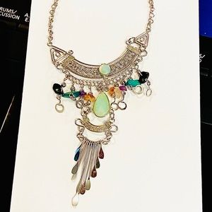 Handmade opal n stone mesmerizing dangly necklace